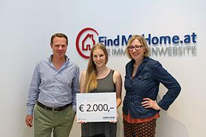 Die Gewinnerin mit FindMyHome.at Eigentümer Benedikt Gabriel und Hans Taus Geschäftsführerin Sabine Taus