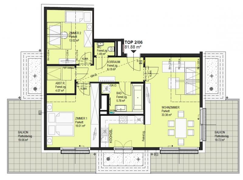 Schöne Dachgeschosswohnung mit 2 Balkonen - Top 2/06