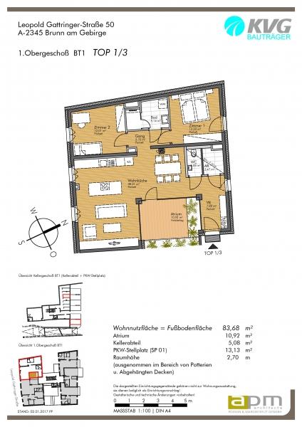 gbild -- Atrium-Wohnung im Zentrum von Brunn /  / 2345Brunn am Gebirge / Bild 4