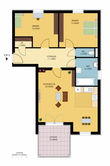 Geförderte 3-Zimmer-Wohnung mit schöner Loggia /  / 7535St. Michael / Bild 3