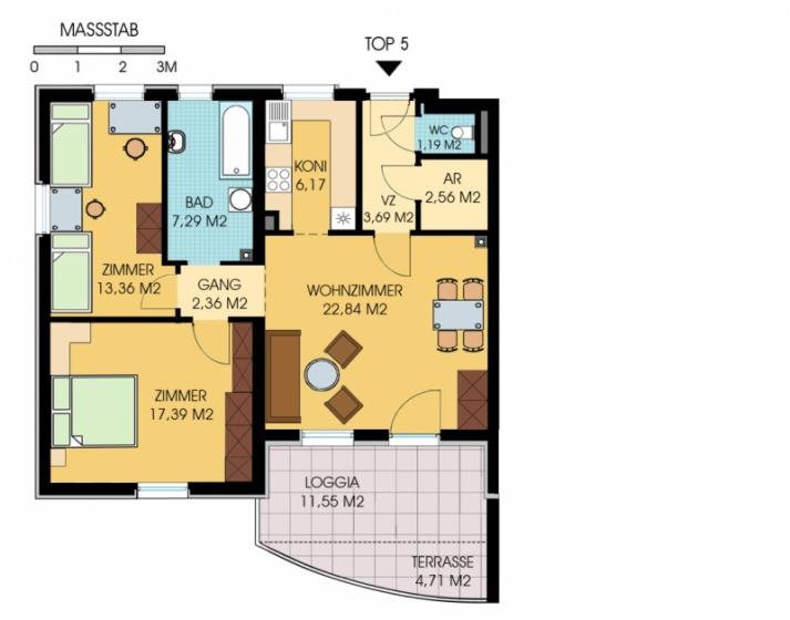 gbild -- Geförderte 3-Zimmer-Wohnung mit Loggia  /  / 7503Kleinpetersdorf / Bild 1