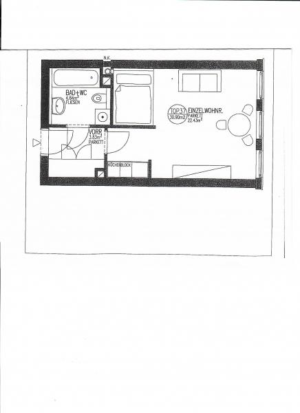 BILLROTHSTRASSE, sonnige 31 m2 Neubau-Garconniere, Einzelwohnraum mit Kochnische, Wannenbad, Parketten;  inklusive Garagenplatz /  / 1190Wien / Bild 1