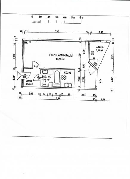 gbild -- KORNHÄUSELGASSE! SONNIGE 50 m2 NEUBAU-GARCONNIERE INKL. 5 m2 LOGGIA; Einzelwohnraum mit Komplettküche, Wannenbad, Parketten; /  / 1200Wien / Bild 1