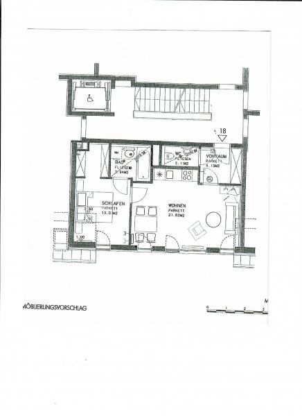 GRINZINGER STRASSE, DACHGESCHOSS! SONNIGE 45 m2 NEUBAUWOHNUNG, 2 Zimmer, Kochnische, Wannenbad; Parketten; /  / 1190Wien / Bild 1