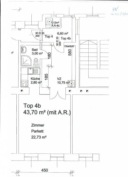 THERESIENGASSE, AKH-Nähe,  unbefristete 44 m2 Altbau-Garconniere,  Einzelwohnraum,  Komplettküche, Duschbad, Parketten /  / 1180Wien / Bild 7