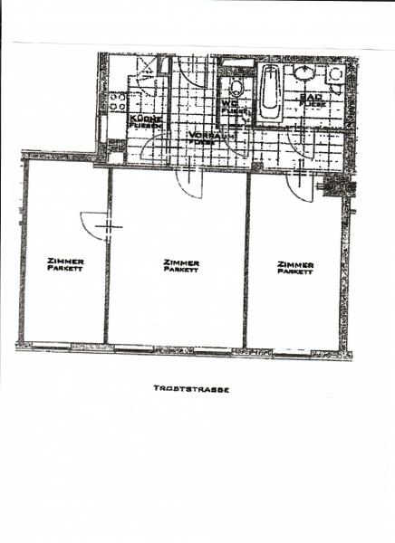 HOLBEINGASSE, DACHGESCHOSS!  unbefristete 69  m2 Altbau, 3  Zimmer, 2er-WG-geeignet, Kochnische, Wannenbad, Parketten; Ruhelage /  / 1100Wien / Bild 1