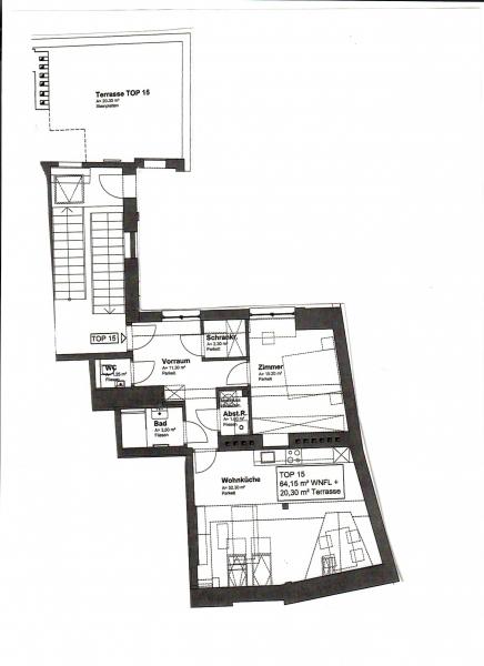 jpgcnt ---- ERSTBEZUG! DACHGESCHOSS! Währinger Strasse, unbefristetes 64 m2 Dachgeschoss mit 20 m2 Terrasse, 2 Zimmer, Komplettküche, Klimaanlage, Duschbad, Parketten, Ruhelage; /  / 0Wien / Bild 8