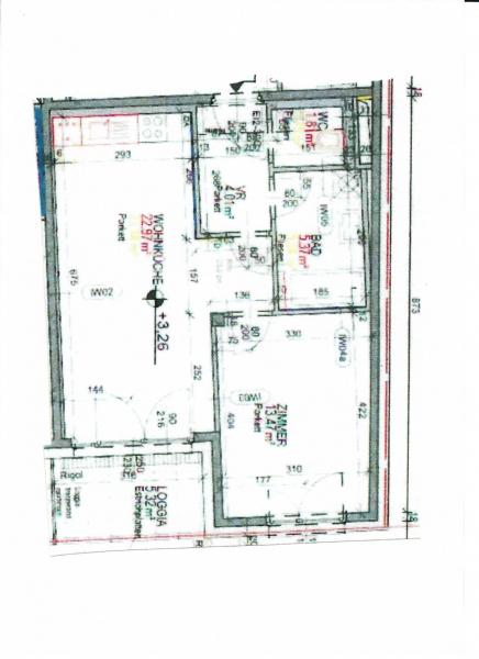 jpgcnt ---- DIRMHIRNGASSE, topgepflegte 53 m2 Neubau inkl. 5 m2 Loggia, 2 Zimmer, Komplettküche, Wannenbad, Parketten,  /  / 1230Wien / Bild 2