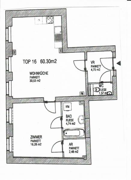 gbild -- PENZINGER STRASSE! unbefristete 60 m2 Altbau, Wohnzimmer mit Komplettküche, Schlafzimmer, Wannenbad, Parketten /  / 1140Wien / Bild 1