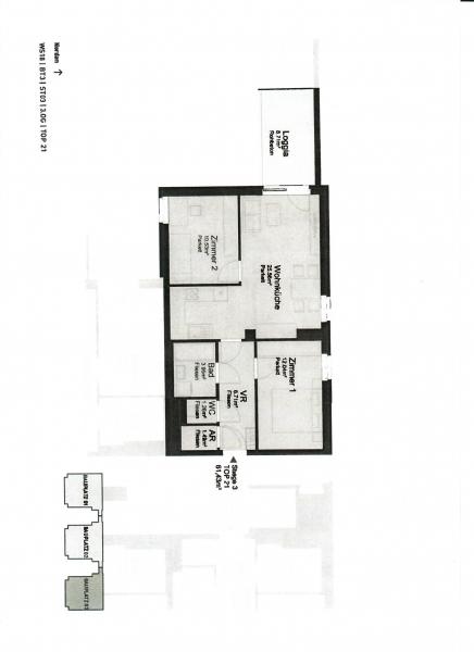 jpgcnt ---- ST. PÖLTEN! WIDERINSTRASSE, sonnige 70 m2 Neubau mit 9 m2 Loggia, 3 Zimmer, Komplettküche, Wannenbad, Parketten /  / 3100St. Pölten / Bild 4