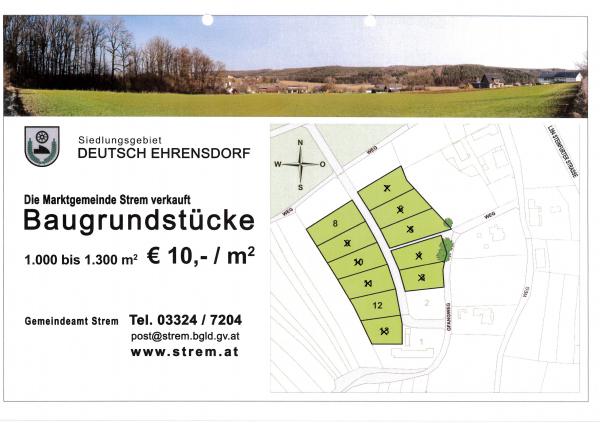 € 12,00/m² - Baugrundstücke im Ortsteil Deutsch Ehrensdorf