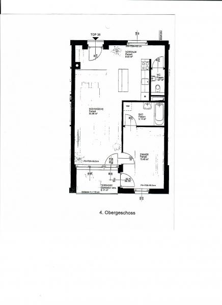 gbild -- FUZO FAVORITENSTRASSE!  SONNIGE 59 m2 NEUBAU MIT 5 m2 TERRASSE,2 Zimmer, Kochnische, Wannenbad, Parketten; Ruhelage; U1-Nähe;  /  / 1100Wien / Bild 1